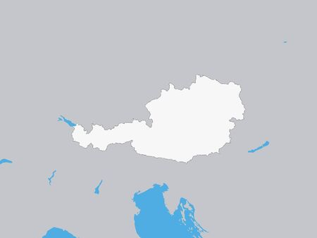 White Map of Austria on Gray Background With Surrounding Terrain