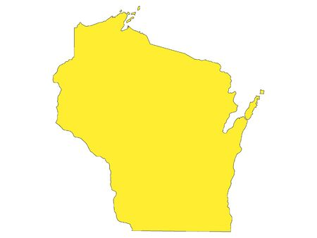 Yellow Map of USA Federal State of Wisconsin 向量圖像