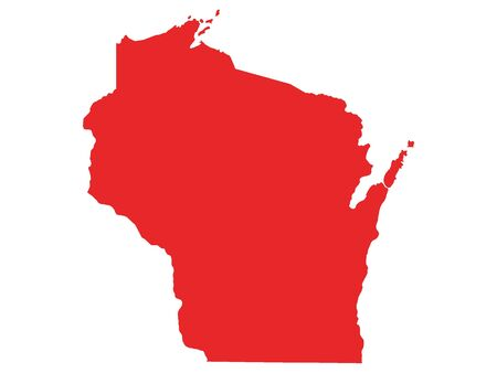Red Map of USA Federal State of Wisconsin