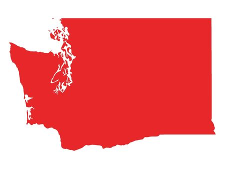 Red Map of USA Federal State of Washington 向量圖像