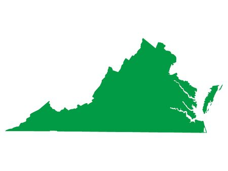 Green Map of USA Federal State of Virginia