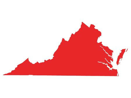 Red Map of USA Federal State of Virginia 向量圖像