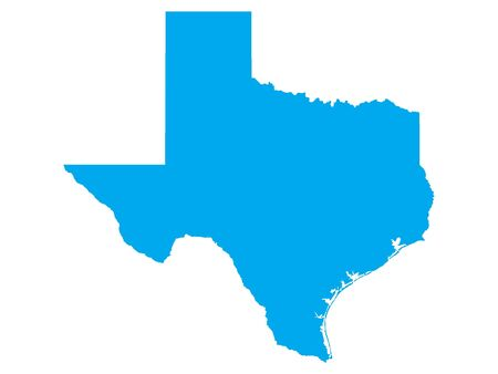 Blue Map of USA Federal State of Texas 向量圖像