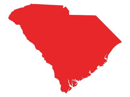 Red Map of USA Federal State of South Carolina
