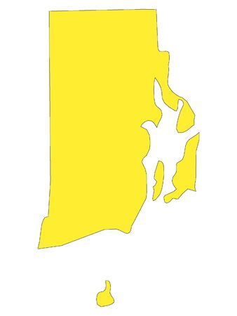 Yellow Map of USA Federal State of Rhode Island