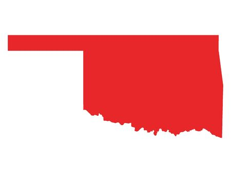 Red Map of USA Federal State of Oklahoma