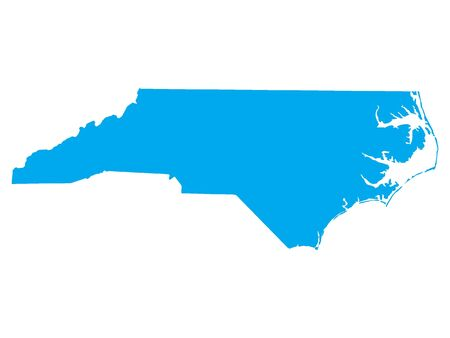 Blue Map of USA Federal State of North Carolina