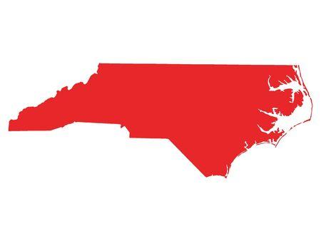 Mapa rojo del estado federal de Carolina del Norte de EE. UU. Ilustración de vector