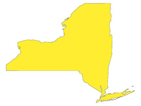 Yellow Map of USA Federal State of New York