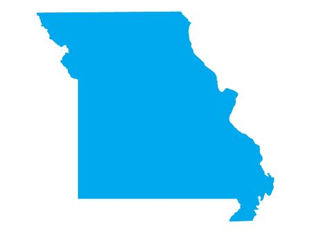 Blue Map of USA Federal State of Missouri 向量圖像