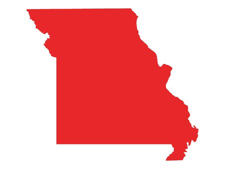 Red Map of USA Federal State of Missouri