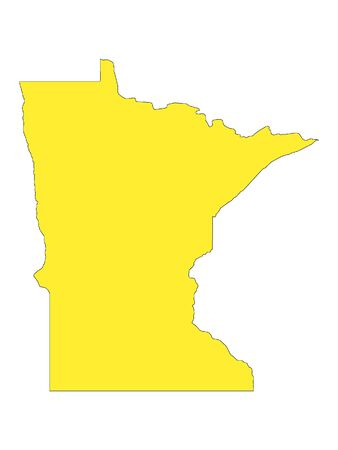 Yellow Map of USA Federal State of Minnesota