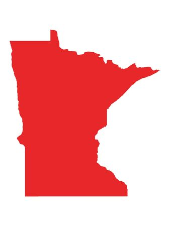 Red Map of USA Federal State of Minnesota