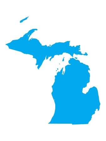 Blue Map of USA Federal State of Michigan