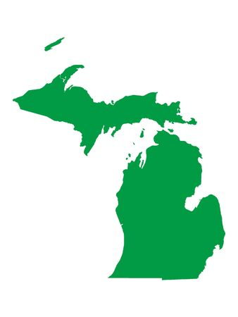 Green Map of USA Federal State of Michigan