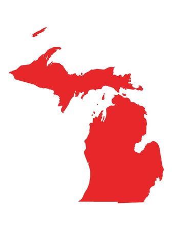 Red Map of USA Federal State of Michigan 向量圖像