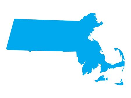 Blue Map of USA Federal State of Massachusetts 向量圖像