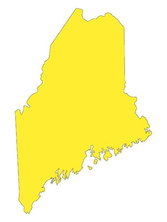 Yellow Map of USA Federal State of Maine  イラスト・ベクター素材