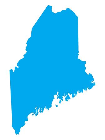 Blue Map of USA Federal State of Maine