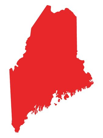 Red Map of USA Federal State of Maine