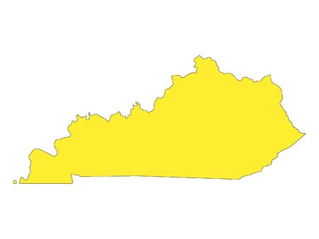 Yellow Map of USA Federal State of Kentucky