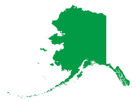 Green Map of USA Federal State of Alaska