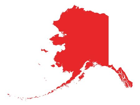 Red Map of USA Federal State of Alaska