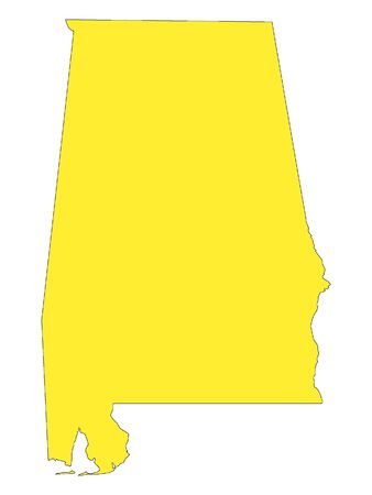 Yellow Map of USA Federal State of Alabama