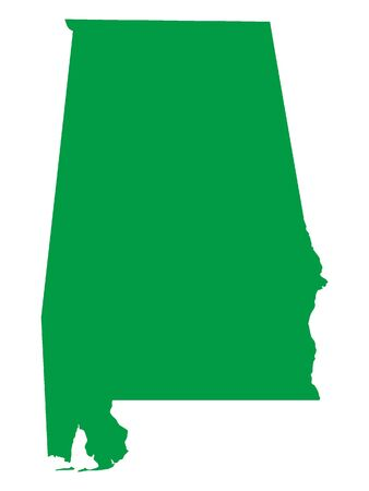 Green Map of USA Federal State of Alabama 向量圖像