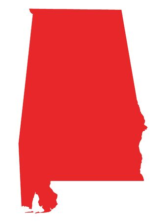 Red Map of USA Federal State of Alabama  イラスト・ベクター素材