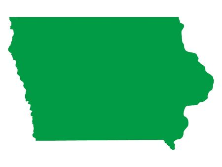 Green Map of USA Federal State of Iowa