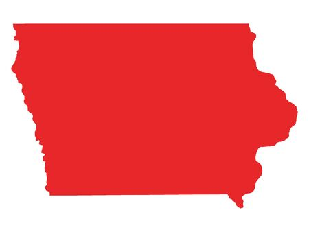 Red Map of USA Federal State of Iowa