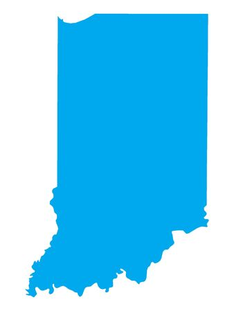 Blue Map of USA Federal State of Indiana Illustration