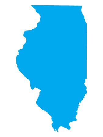 Blue Map of USA Federal State of Illinois