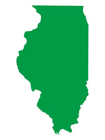 Green Map of USA Federal State of Illinois