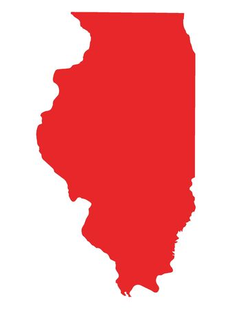 Red Map of USA Federal State of Illinois