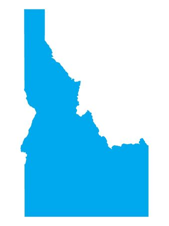 Blue Map of USA Federal State of Idaho