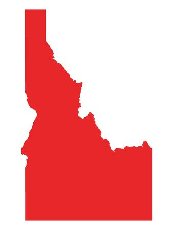 Red Map of USA Federal State of Idaho