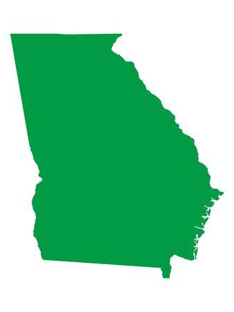 Green Map of USA Federal State of Georgia