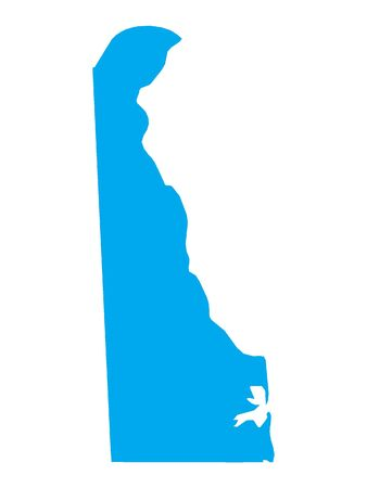 Blue Map of USA Federal State of Delaware Illustration