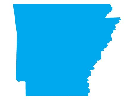 Blue Map of USA Federal State of Arkansas
