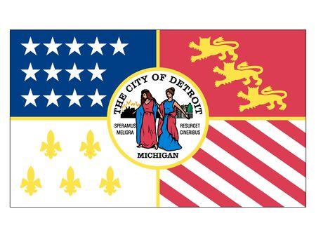Flag of USA City of Detroit, Michigan