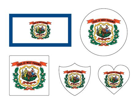 USA Federal State of West Virginia Set of Flags