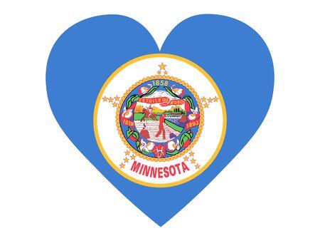 Heart Shaped Flag of USA Federal State of Minnesota 向量圖像
