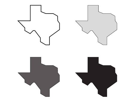 Simplified Map of USA Federal State of Texas (White, Gray, Black)