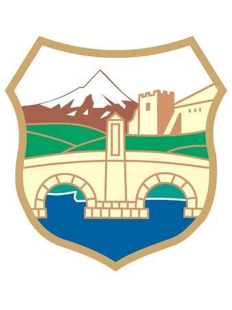 Coat of Arms of the City of Skopje, North Macedonia Stock Illustratie