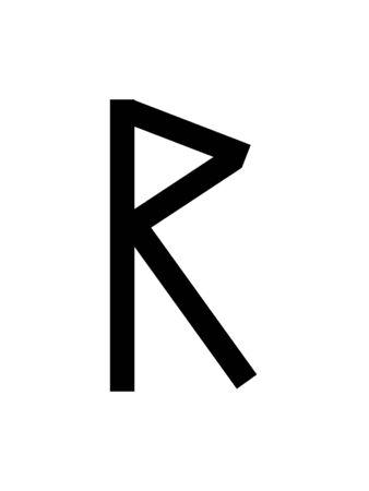 Simple Black Runic Letter of Raidho