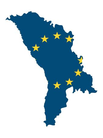 Map of Moldova Combined With European Union Flag