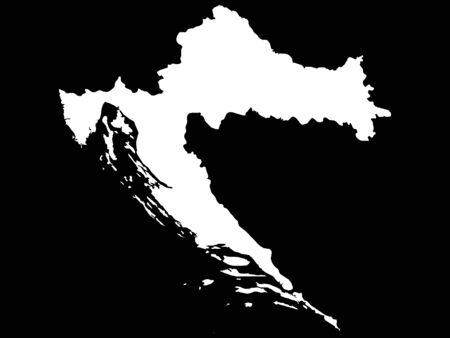 White Map of Croatia on Black Background  イラスト・ベクター素材