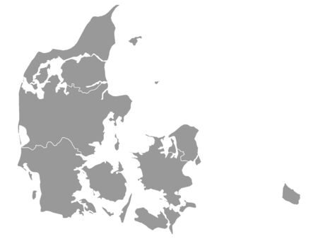 Gray Map of Regions of Denmark on White Background